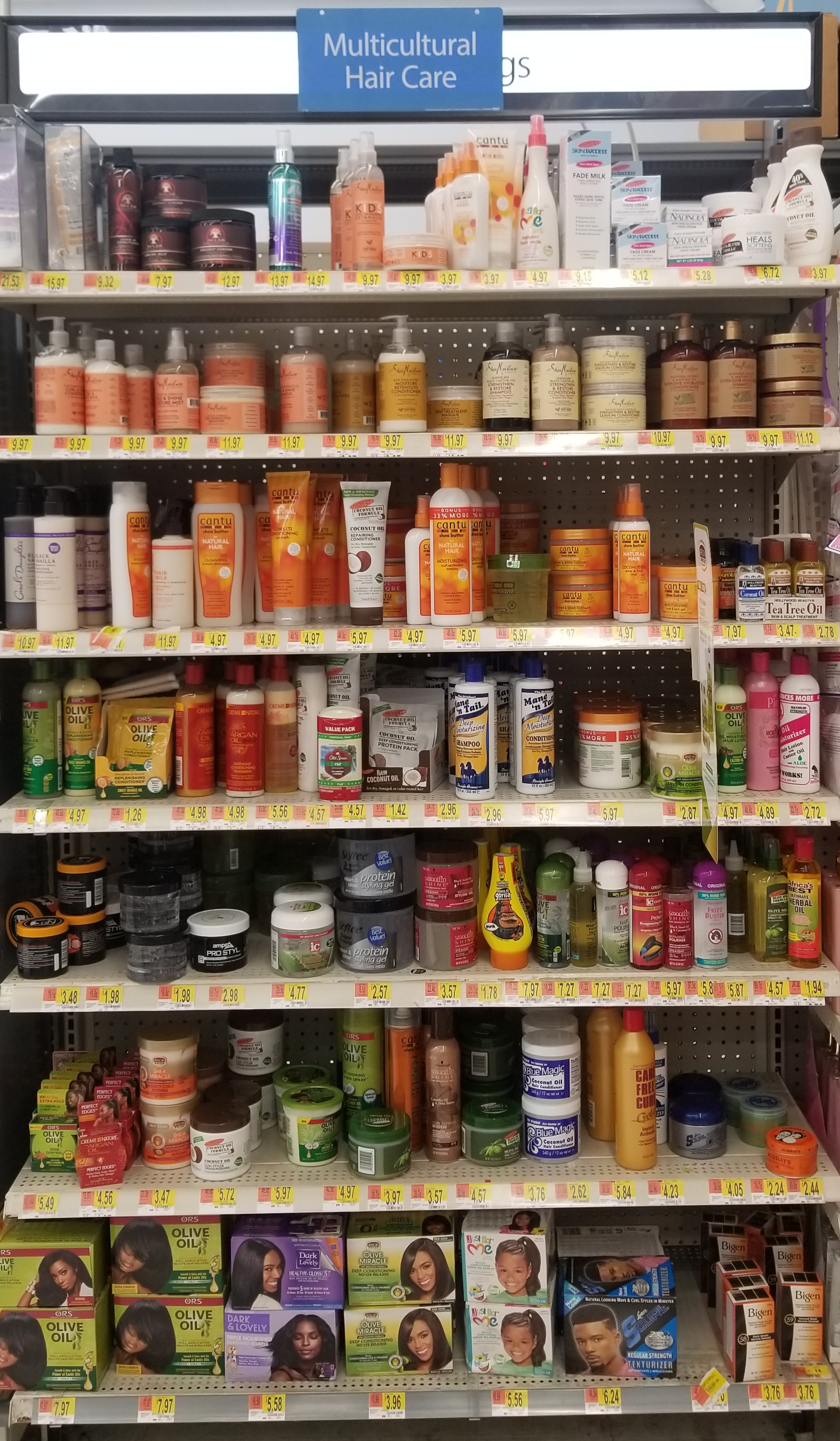 Multicultural hair care section at Walmart